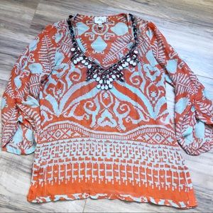 Milly New York Silk Blend Jeweled Ikat Tunic Top 4